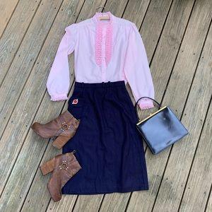 Vintage 70s Pink Tuxedo Lace Ruffle Shirt